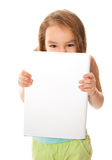Girl and a banner Stock Images