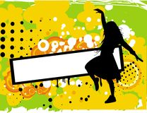 Girl with banner. Vector drawing of Girl with banner on the bright abstract background Stock Image