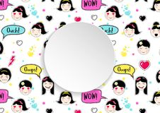 Girl banner with anime emoji pattern. Cute stickers with emotico. N and 3d paper. Childish girl banner with kawaii asian faces. Template for fashion and make up Stock Photography