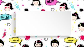 Girl banner with anime emoji pattern. Cute stickers with emotico. N and 3d paper. Childish girl banner with kawaii asian faces. Template for fashion and make up Stock Image