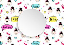 Girl banner with anime emoji pattern. Cute stickers with emotico. N and 3d paper. Childish girl banner with kawaii asian faces. Template for fashion and make up Stock Photos