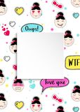 Girl banner with anime emoji pattern. Cute stickers with emotico. N and 3d paper. Childish girl banner with kawaii asian faces. Template for fashion and make up Royalty Free Stock Images