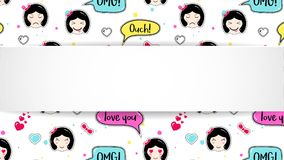Girl banner with anime emoji pattern. Cute stickers with emotico. N and 3d paper. Childish girl banner with kawaii asian faces. Template for fashion and make up Royalty Free Stock Image