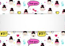 Girl banner with anime emoji pattern. Cute stickers with emotico. N and 3d paper. Childish girl banner with kawaii asian faces. Template for fashion and make up Royalty Free Stock Photography