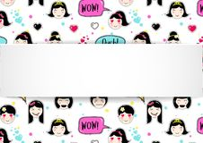 Girl banner with anime emoji pattern. Cute stickers with emotico. N and 3d paper. Childish girl banner with kawaii asian faces. Template for fashion and make up Stock Photo