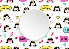 Girl banner with anime emoji pattern. Cute stickers with emotico. N and 3d paper. Childish girl banner with kawaii asian faces. Template for fashion and make up Royalty Free Stock Photos