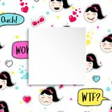 Girl banner with anime emoji pattern. Cute stickers with emotico. N and 3d paper. Childish girl banner with kawaii asian faces. Template for fashion and make up Stock Images