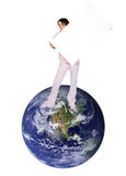Girl with banner and the earth Stock Image