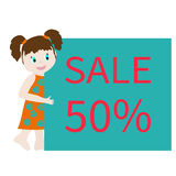 Girl and banner Stock Images