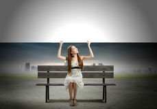Girl with banner Royalty Free Stock Photography