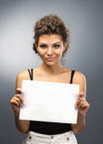 Girl with banner Royalty Free Stock Photos