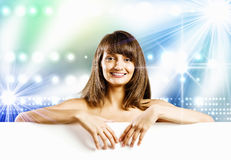 Girl with banner Stock Photo