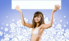 Girl with banner Royalty Free Stock Photo