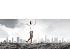 Girl with banner Royalty Free Stock Image