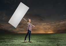 Girl with banner Stock Image