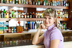 Girl in bar Stock Photo