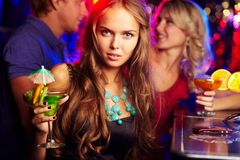 Girl in bar Royalty Free Stock Image