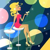 Girl in bar. Blonde girl in the bar vector illustration scene Stock Photos