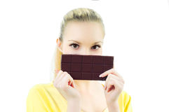 Girl with bar of chocolate Royalty Free Stock Images