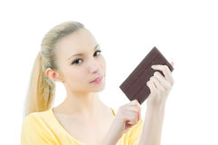 Girl with bar of chocolate Stock Image