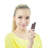 Girl with bar of chocolate Royalty Free Stock Photos