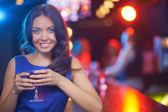 Girl in the bar Royalty Free Stock Photography