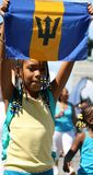 Girl with Barbados Flag royalty free stock images
