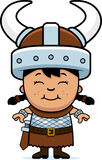 Girl Barbarian. A cartoon illustration of a girl barbarian standing and smiling Royalty Free Stock Photo