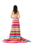 Girl  bare back standing wrapped with towel Royalty Free Stock Photos