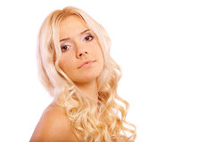 Girl with bared shoulders Stock Photos