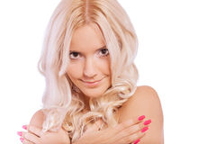 Girl with bared shoulders Stock Images