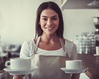 Girl barista cafe Royalty Free Stock Photography