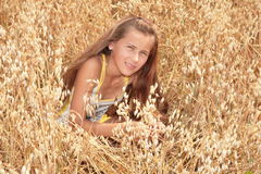 Girl in barley field Royalty Free Stock Photography