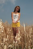 girl in the barley field Royalty Free Stock Image