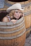 Girl in a Barrel Royalty Free Stock Photo