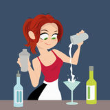 The girl bartender making cocktail drink Stock Photo