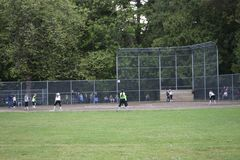 Free Girl Base Ball Team Practicing At West Seattle Royalty Free Stock Image - 148296246