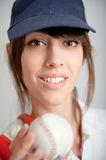Girl with baseball ball Royalty Free Stock Photo