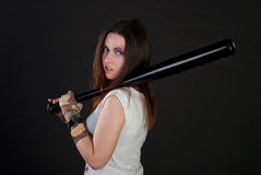 Girl with baseball bat Royalty Free Stock Photo
