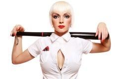 Girl with baseball bat. Beautiful young girl with baseball bat on white background Stock Photography