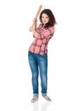 Girl with baseball bat Royalty Free Stock Photography