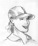 Girl in baseball cap pencil sketch. Hand drawn pencil sketch of a smiling girl wearing collared shirt and baseball cap Stock Photography