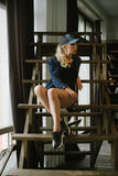 Girl in baseball cap Royalty Free Stock Photos