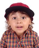 Girl with baseball cap, surprised royalty free stock photos