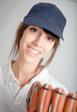 Girl with baseball glove Stock Photo