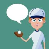 Girl baseball player bubble speech Stock Photography