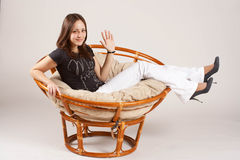 Girl in the basket Royalty Free Stock Images