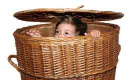 Girl in the basket Stock Images