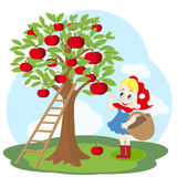 Girl with basket and apple tree Stock Photo