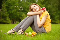 Girl with basket apples Royalty Free Stock Images